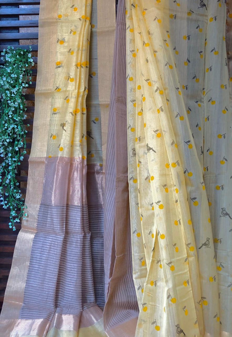 handwoven chanderi saree - ivory gold & mandarins
