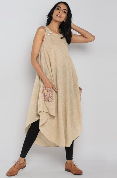 parachute dress - beige & patch pocket