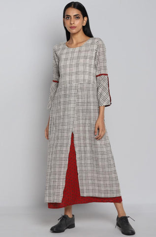 OVERLAP DRESS - MONOCHROME GRID & KALA COTTON