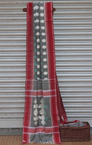 handwoven ikat saree - grey sky & green polka