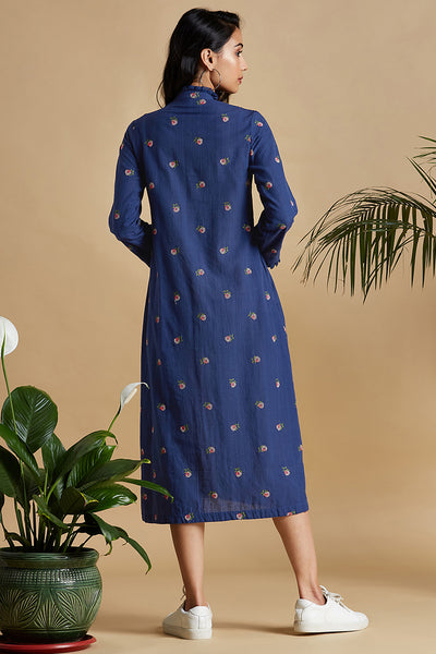 pinctuck dress - pristine blue & butterfly bush