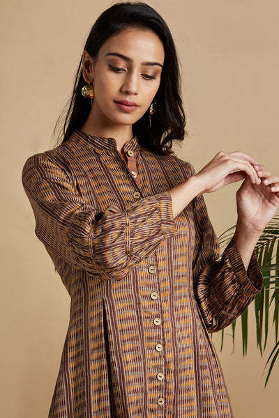 button down dress - antique walnut & copper shimmer