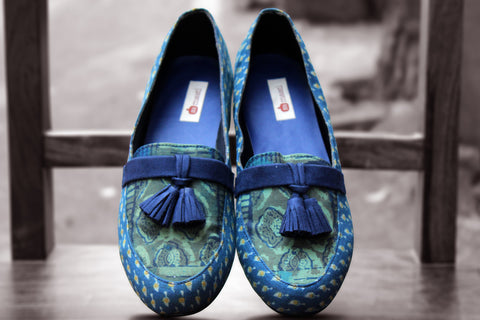 handcrafted footwear - fossil green & indigo tassel loafers
