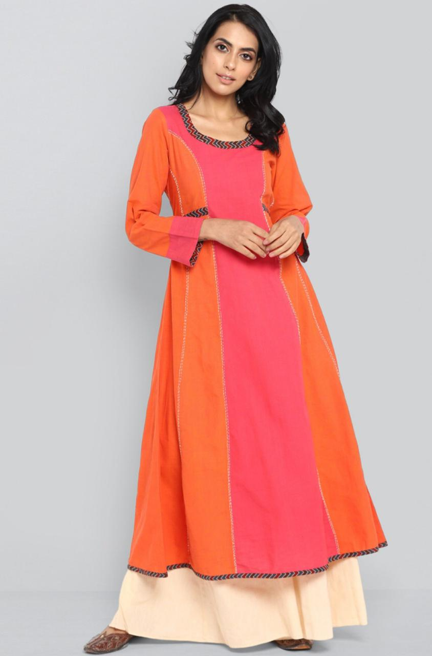 kalidhar - pop pink & sunset orange