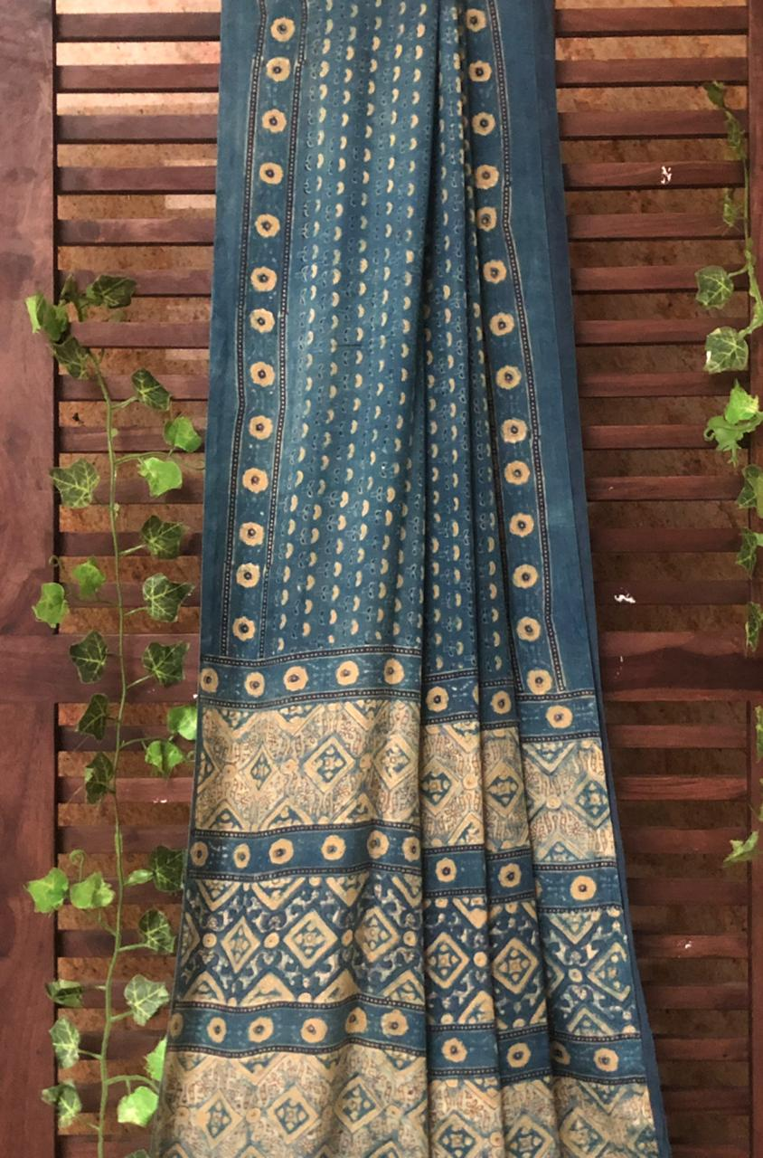 gajji silk saree - indigo yellow & taj butti