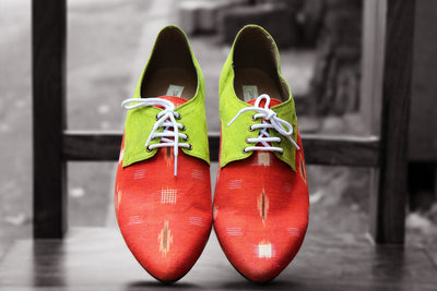 handcrafted footwear - tangerine & lime green brogues