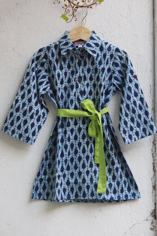 kidswear - indigo shirt dress