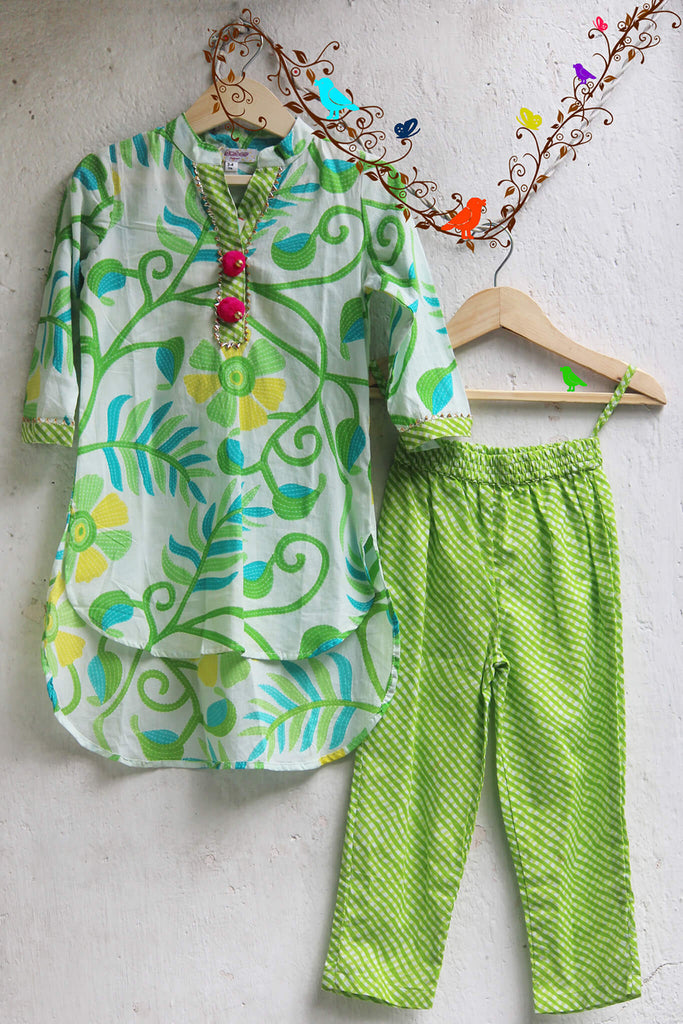 kidswear - Green Floral Hi Low Styled Kurti with Green Pant