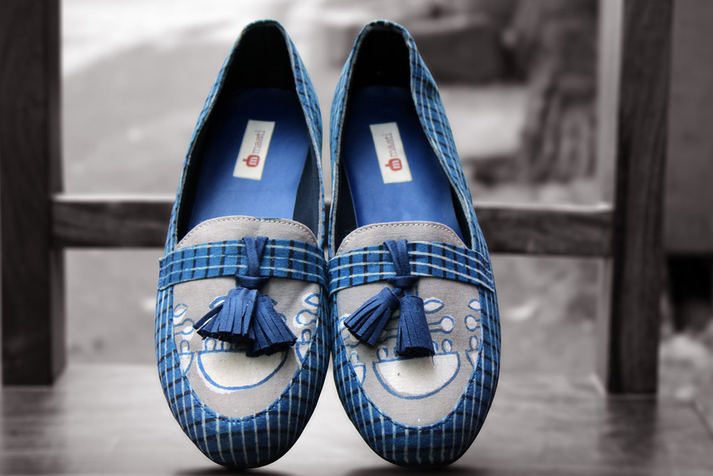 handcrafted footwear - ash grey & blue tassel loafers