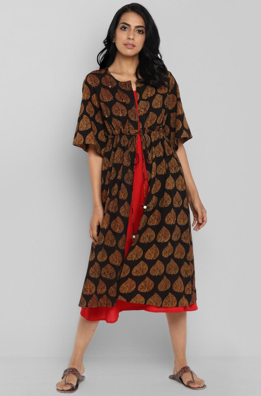 2 piece kaftan tie-up jacket - peepal & vermillion