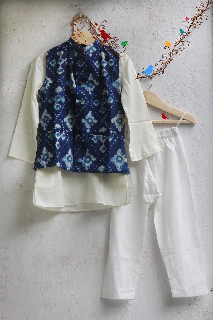 kidswear - white kurta with indigo jacket & pajama