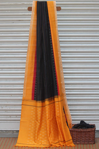 handwoven ikat saree - gold & black stripes