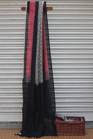 handwoven ikat saree - ash grey & stripes