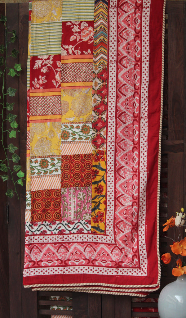 double handcrafted dohar - crimson mosaic & paisley