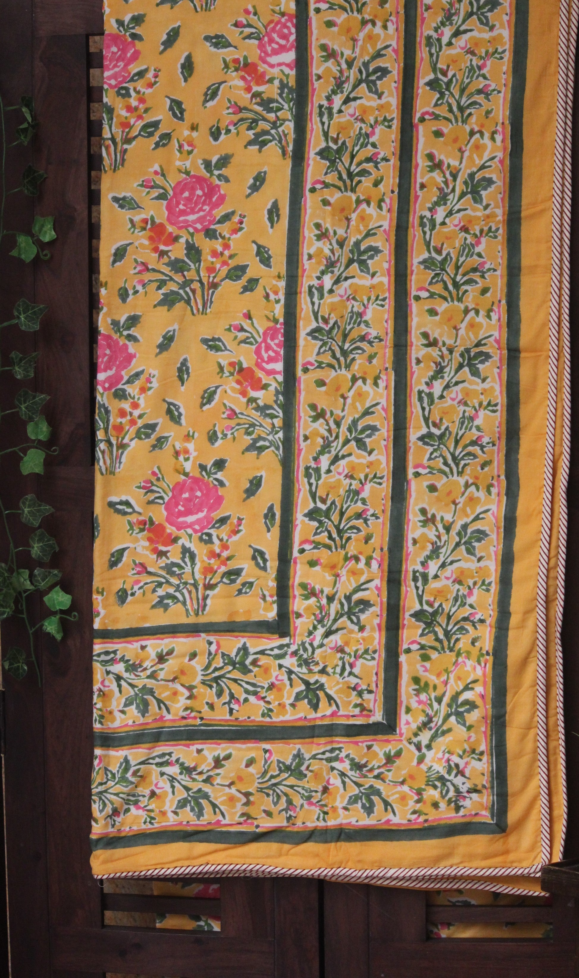 double handcrafted dohar - mughal garden & the yellow roses