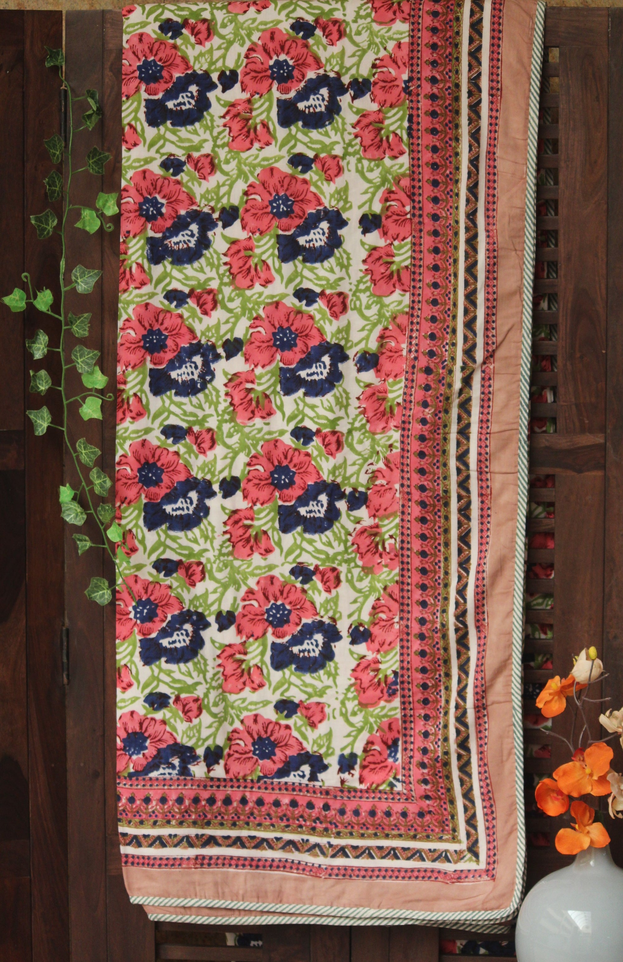 single handcrafted dohar - lotus pink & indigo bloom