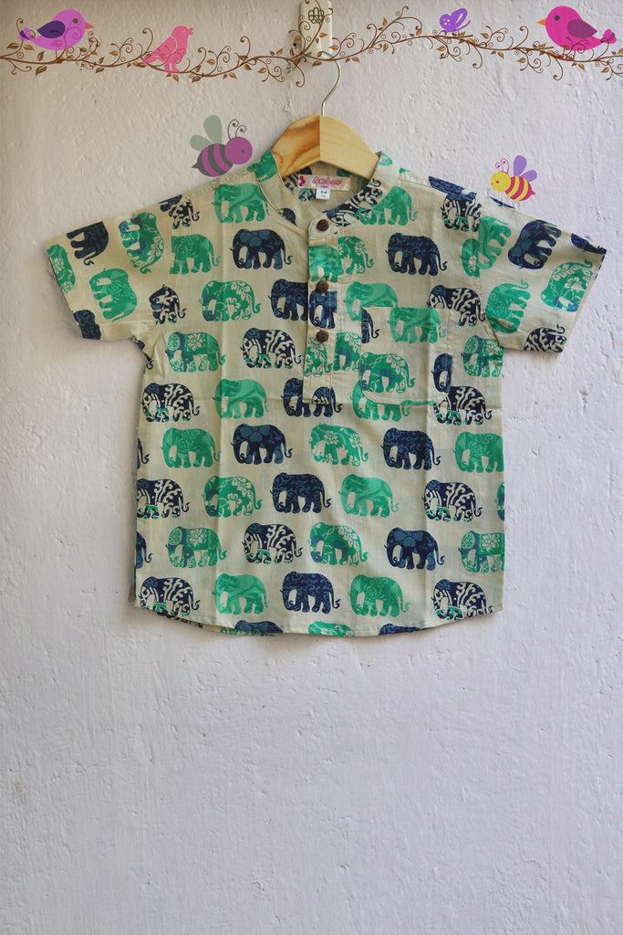 kidswear - blue elephant shirt
