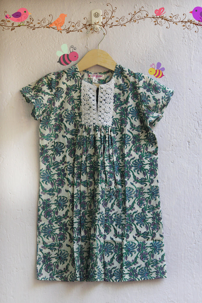 kidswear - blue green handblock printed frock with crocia lace