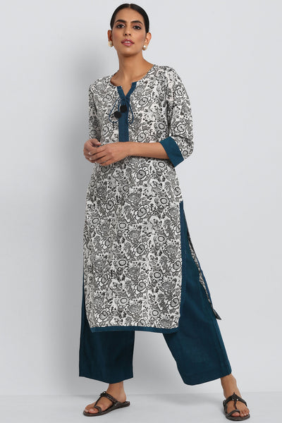 LONG KURTA WITH DORI & PATTI - BLACK & WHITE BAGRU JAAL PRINT