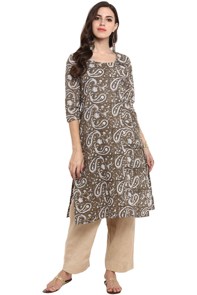 LONG KURTA WITH SIDE PINTUCK - KASHISH GREY & PAISLEY