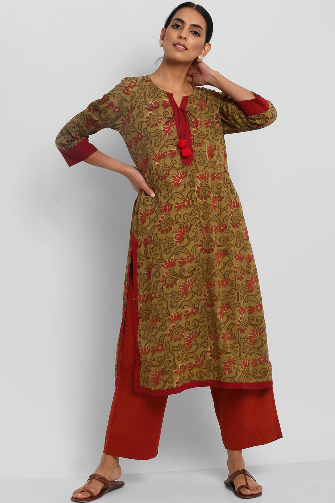 LONG KURTA WITH DORI & PATTI - MEHENDI GREEN RED BAGRU JAAL