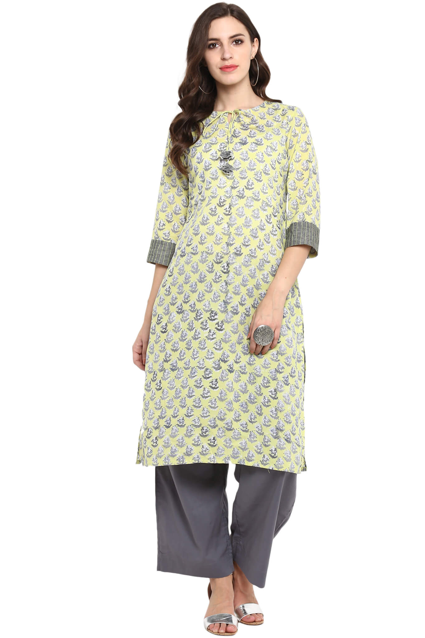 LONG KURTA WITH DORI - LIME YELLOW & MOGRAS
