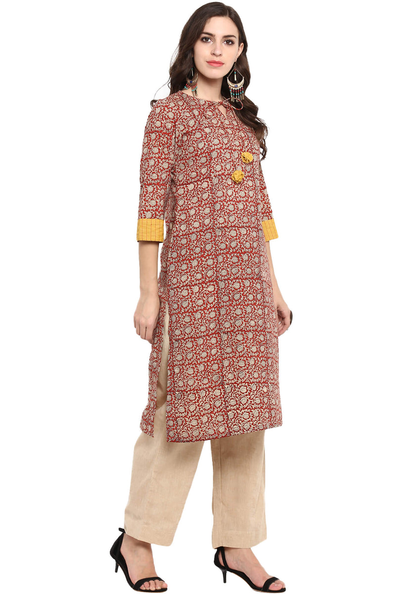LONG KURTA WITH DORI - RED TULIPS & JAAL
