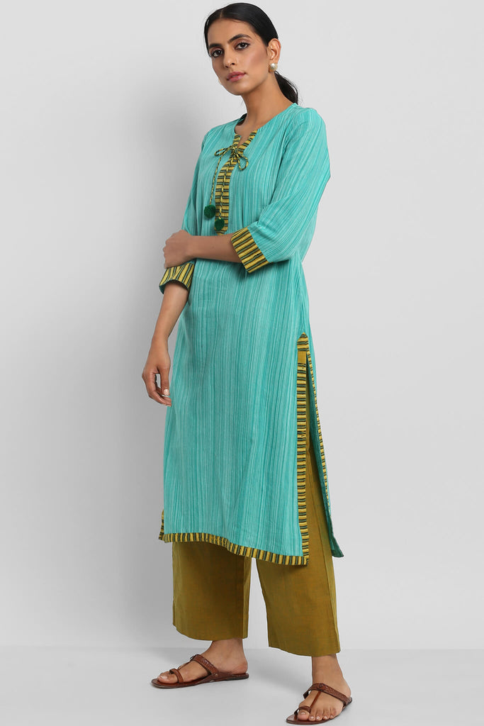 LONG KURTA WITH DORI & PATTI - SEA GREEN BRUSH MANGALGIRI