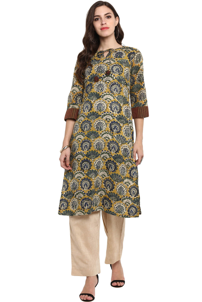 LONG KURTA WITH DORI - YELLOW & PEACOCK
