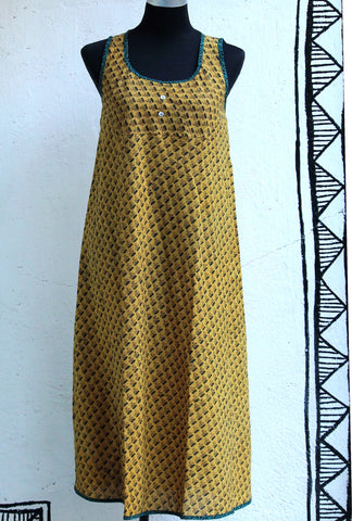 summer dress - ajrakh & yellow