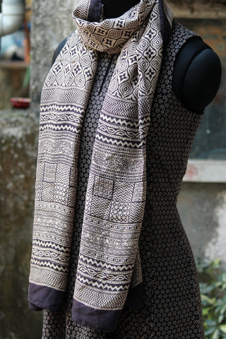 bagh silk stole - water ripples & mosaic (black & off-white)