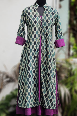 dress - ajrakh barfi & purple
