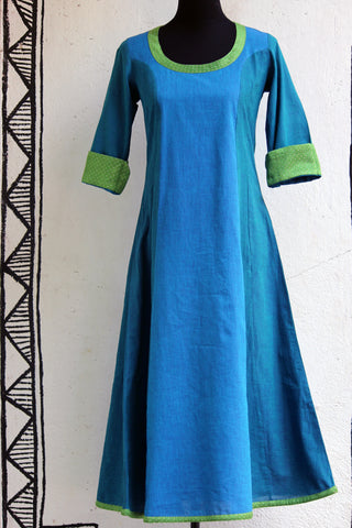 anarkali - blue+green mangalgiri & mashroo