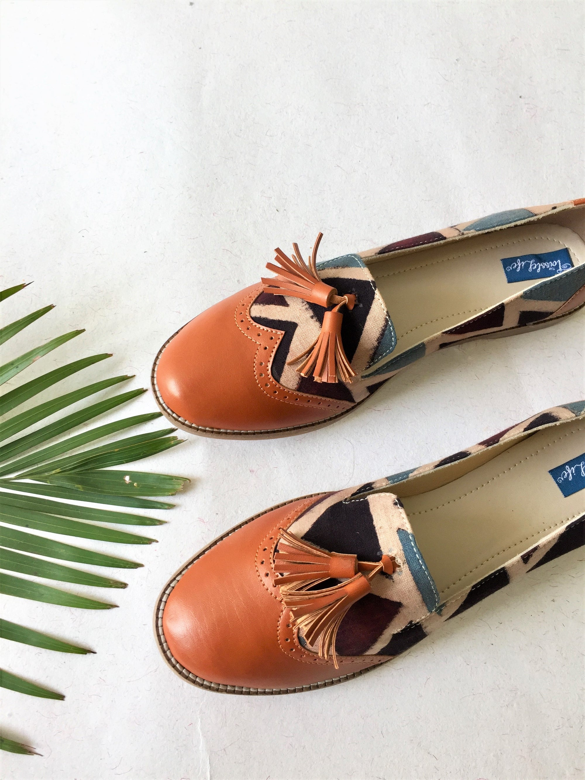 Moccasins - BROWN & BLUE