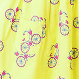 kidswear - handprinted collar frock in bicycle print