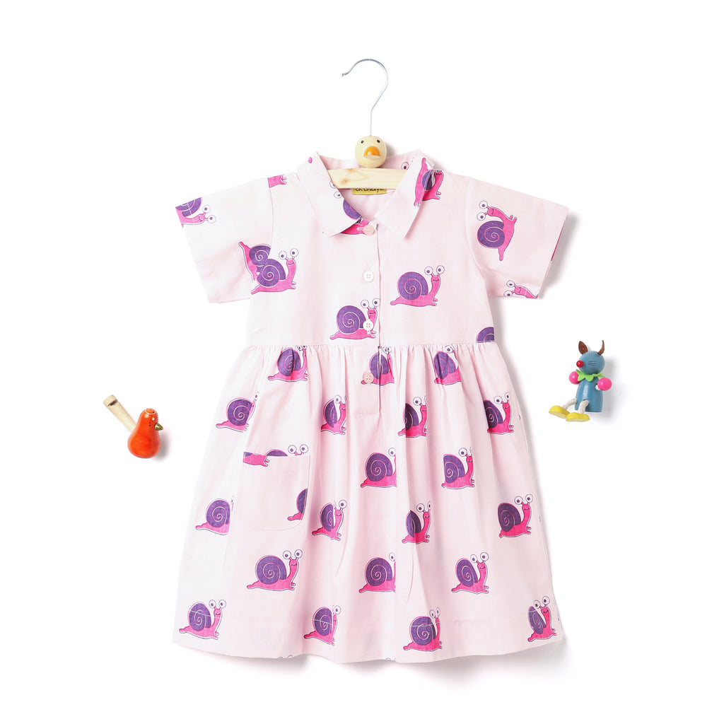 kidswear - handprinted collar frock in snail print