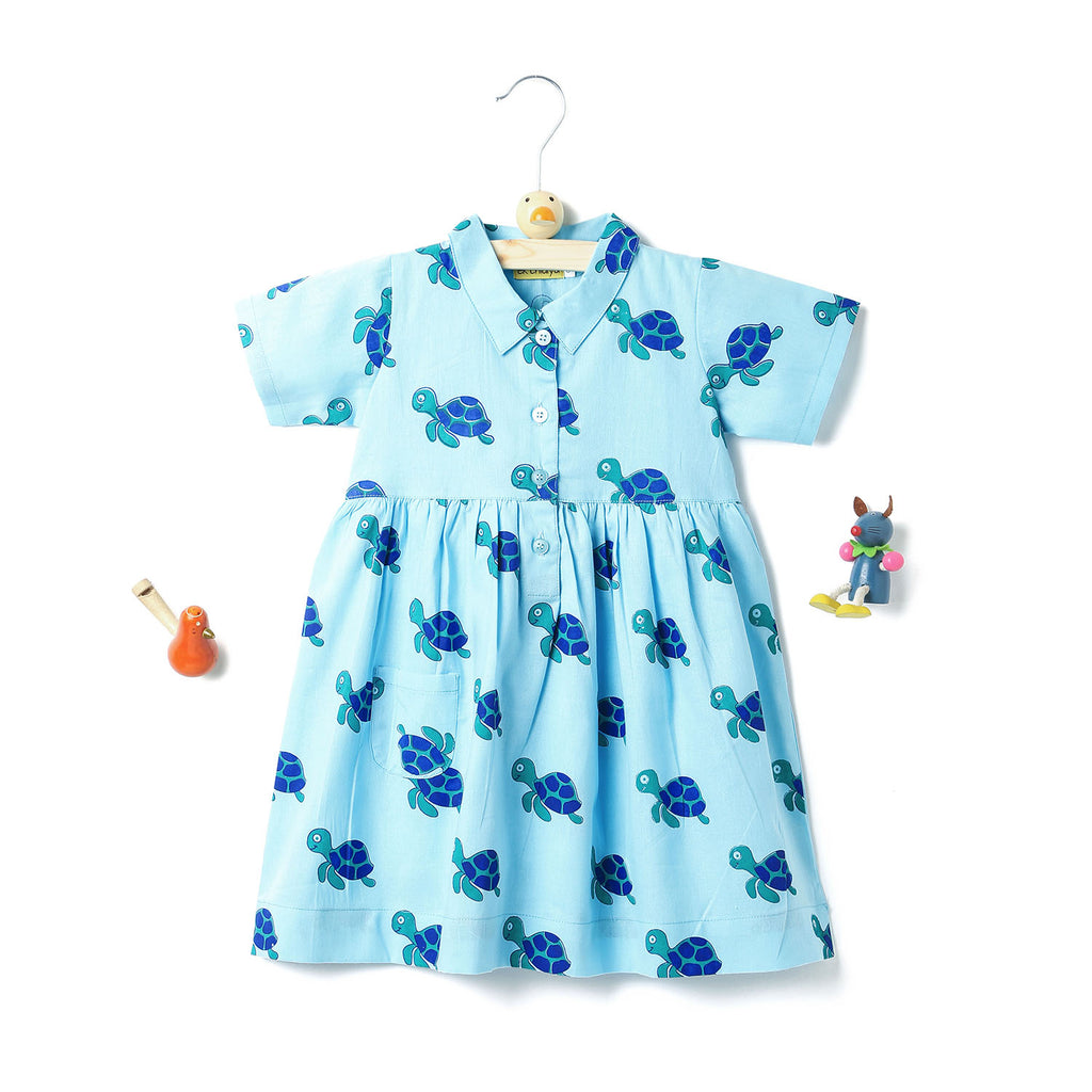 kidswear - handprinted collar frock in turtle print