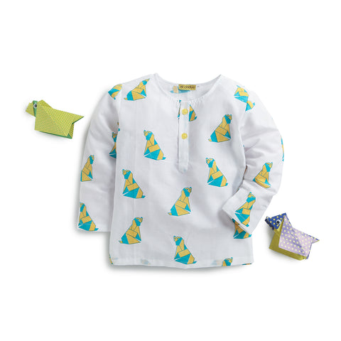 kidswear - handprinted nightdress in playful dog print