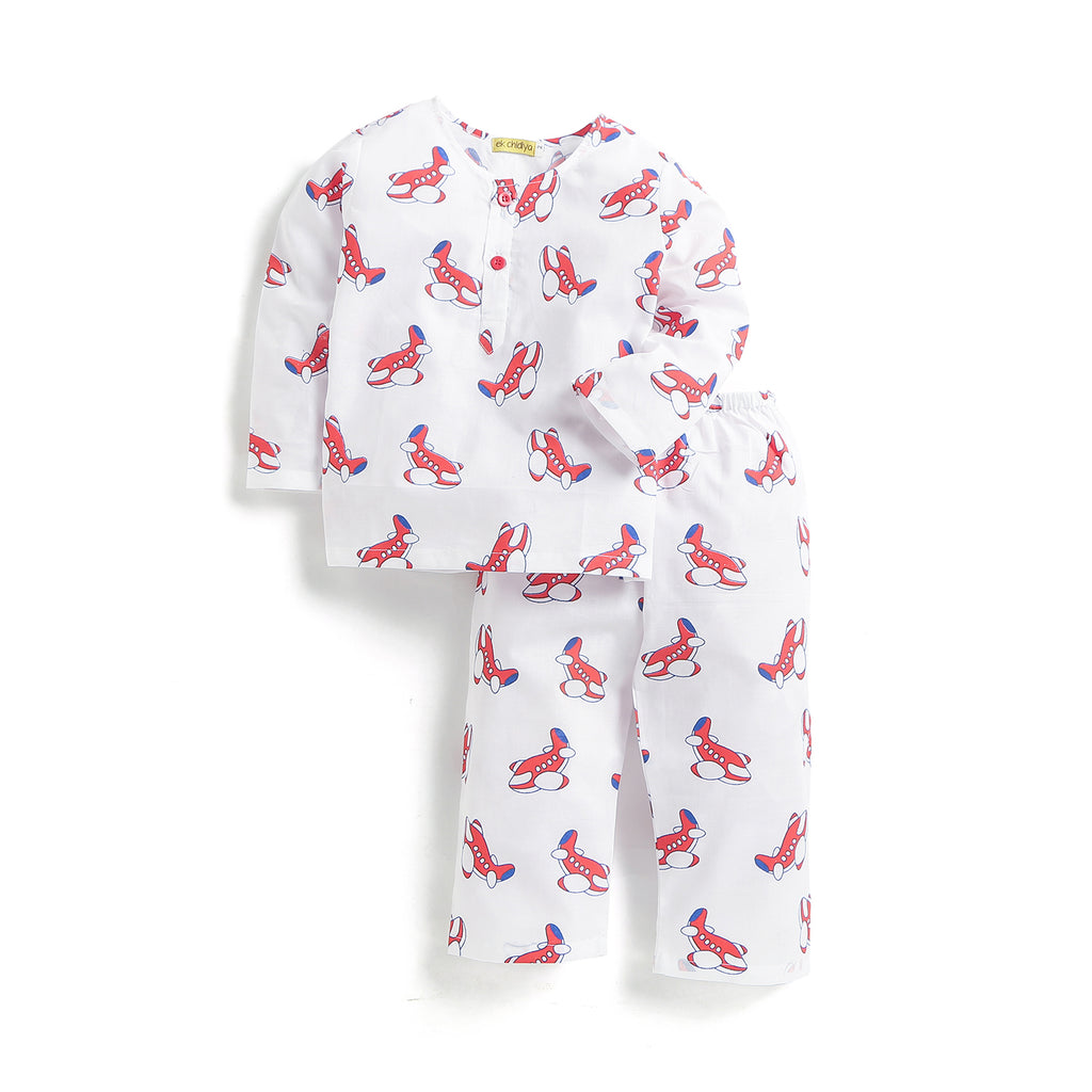 kidswear - handprinted nightdress in aeroplane print