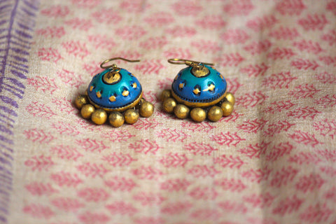 jewelry - terracotta - small jhumka peacock speck gold