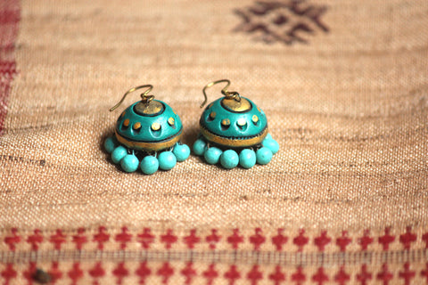 jewelry - terracotta - small jhumka teal and teal