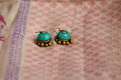 jewelry - terracotta - small jhumka turquoise