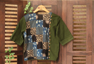 BLOUSE - PATCHWORK MOSS GREEN & INDIGO BLACK