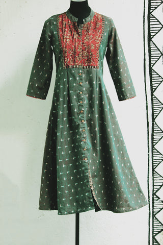 dress - ikat & green