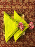 dinner napkins - lime green & pink tassels