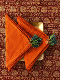 dinner napkins - orange checks & green tassels