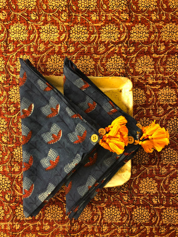 dinner napkins - indigo lotus & yellow tassels