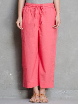 ELASTICATED CAMBRIC PANTS - PEACH PINK