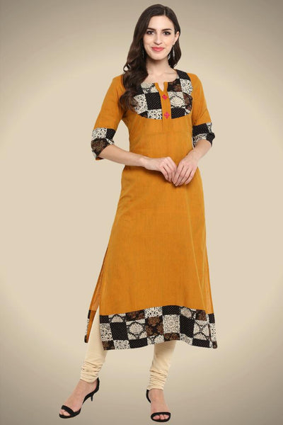 ochre yellow mangalgiri long kurta patchwork yoke