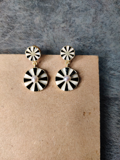 jewelry - berserk - Gold Plated Double Wheel Drop Earrings